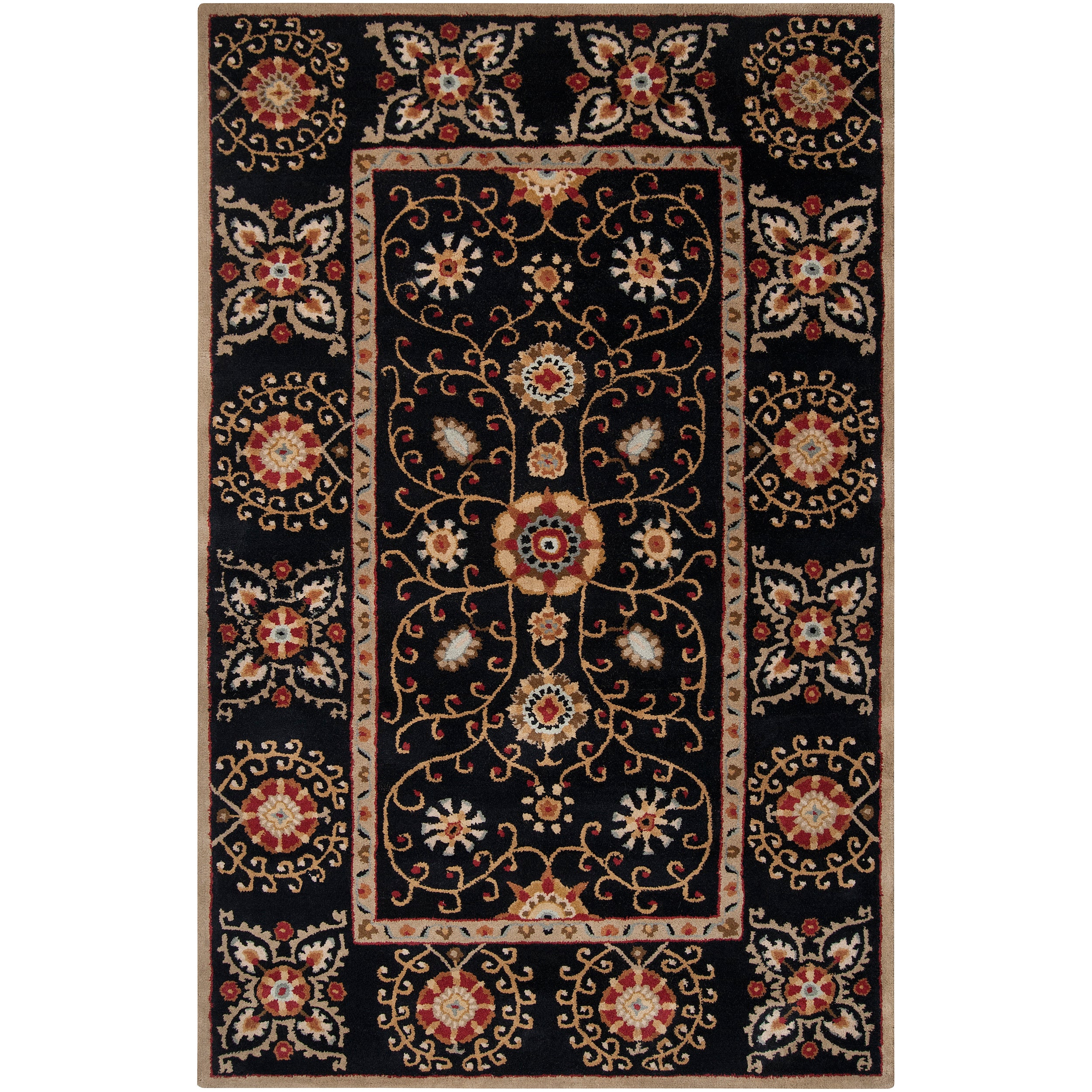 Hand-tufted Black Paisley Bordered Bloomer Wool Rug (2' x 3')