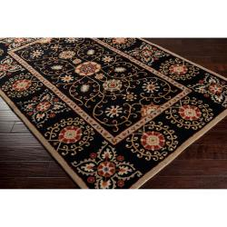 Hand-tufted Black Paisley Bordered Bloomer Wool Rug (2' x 3') - Thumbnail 1