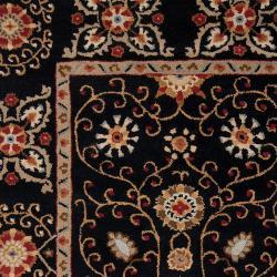 Hand-tufted Black Paisley Bordered Bloomer Wool Rug (2' x 3') - Thumbnail 2