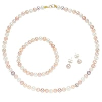 Pearlyta 14k Yellow Gold Children S Multi Colored Freshwater Pearl Necklace Bracelet And Earring Jewelry