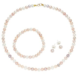 Pearlyta 14k Yellow Gold Children's Multi-colored Freshwater Pearl Necklace, Bracelet and Earring Jewelry Set (4-5 mm) - Pink