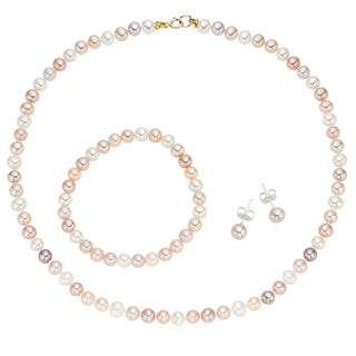 Pearlyta 14k Yellow Gold Children's Multi-colored Freshwater Pearl Necklace, Bracelet and Earring Jewelry Set (4-5 mm)