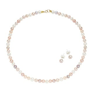 Pearlyta 14k Yellow Gold Children's Multi-colored Freshwater Pearl Necklace and Earring Jewelry Set (7-8 mm) - Pink