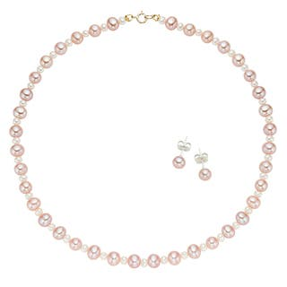 Pearlyta 14k Yellow Gold Multi-cultured Freshwater Pearl Flower Girl Necklace and Stud Earrings Set (4 - 5 mm)|https://ak1.ostkcdn.com/images/products/7019002/7019002/Pearlyta-14k-Yellow-Gold-Multi-cultured-Pearl-Necklace-and-Earrings-Set-P14525174.jpg?impolicy=medium