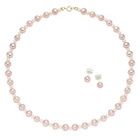 Pearlyta 14k Yellow Gold Multi-cultured Freshwater Pearl Flower Girl Necklace and Stud Earrings Set (4 - 5 mm) - Pink