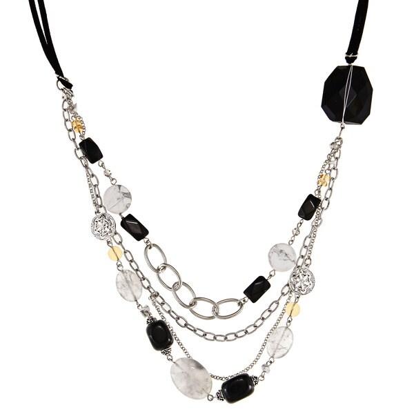 Alexa Starr Silvertone Onyx, Howlite, Crystal and Glass Necklace