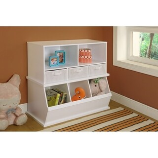 Badger Basket's White Shelf Storage Cubby with Removable Baskets