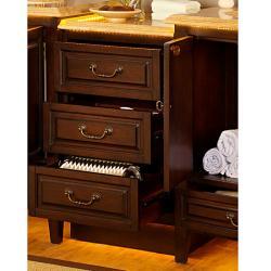 Silkroad Exclusive Dark Walnut Antiqued Brass Bathroom Vanity Side Cabinet Drawer Bank
