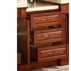 Silkroad Exclusive Cherry Antiqued Brass Bathroom Vanity Side Cabinet Drawer Bank - Thumbnail 1