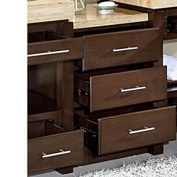 Silkroad exclusive dark walnut brushed nickel bathroom vanity side cabinet drawer bank free for Bathroom vanity tray satin nickel