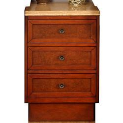 Silkroad Exclusive English Chestnut Antiqued Brass Bathroom Vanity Side Cabinet Drawer Bank