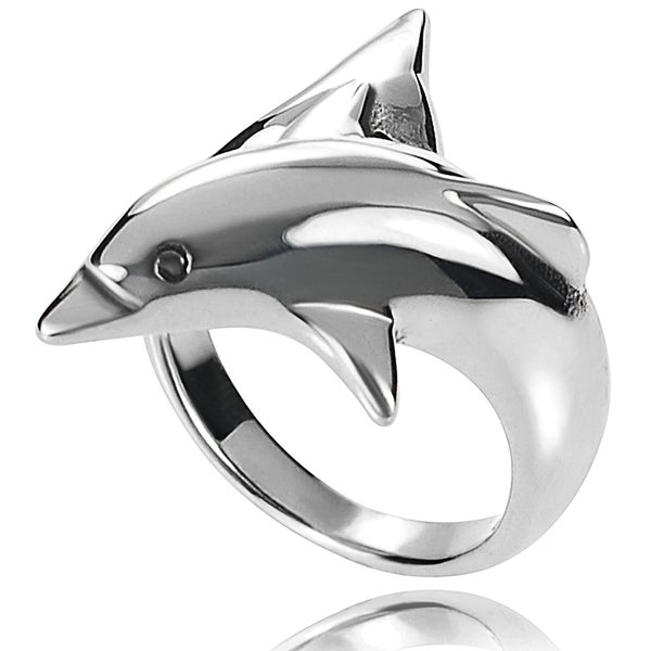 Journee Collection Women's Sterling Silver Dolphin Ring