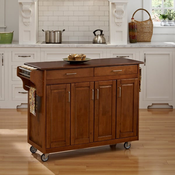 Warm Oak Finish with Cherry Top Create-a-Cart by Home Styles