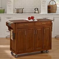 Gracewood Hollow Defoe Warm Oak Finish with Oak Top Kitchen Cart