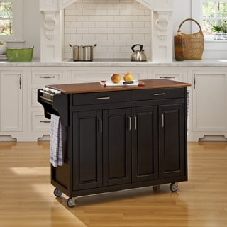 Home Styles Black Finish with Oak Top Create-a-Cart