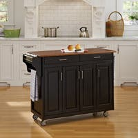 Gracewood Hollow Defoe Black Finish with Oak Top Kitchen Cart