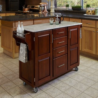 Cherry Finish with Marble Top Create-a-Cart