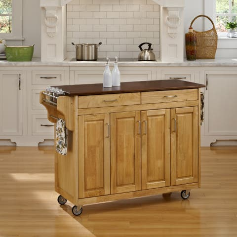 Copper Grove Puff Island Natural Finish with Cherry Top Kitchen Cart