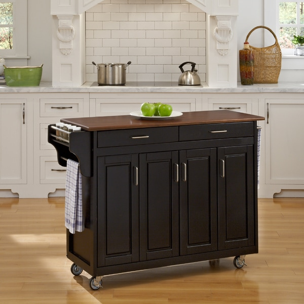 Black Finish with Cherry Top Solid Wood Create-a-Cart by Home Styles