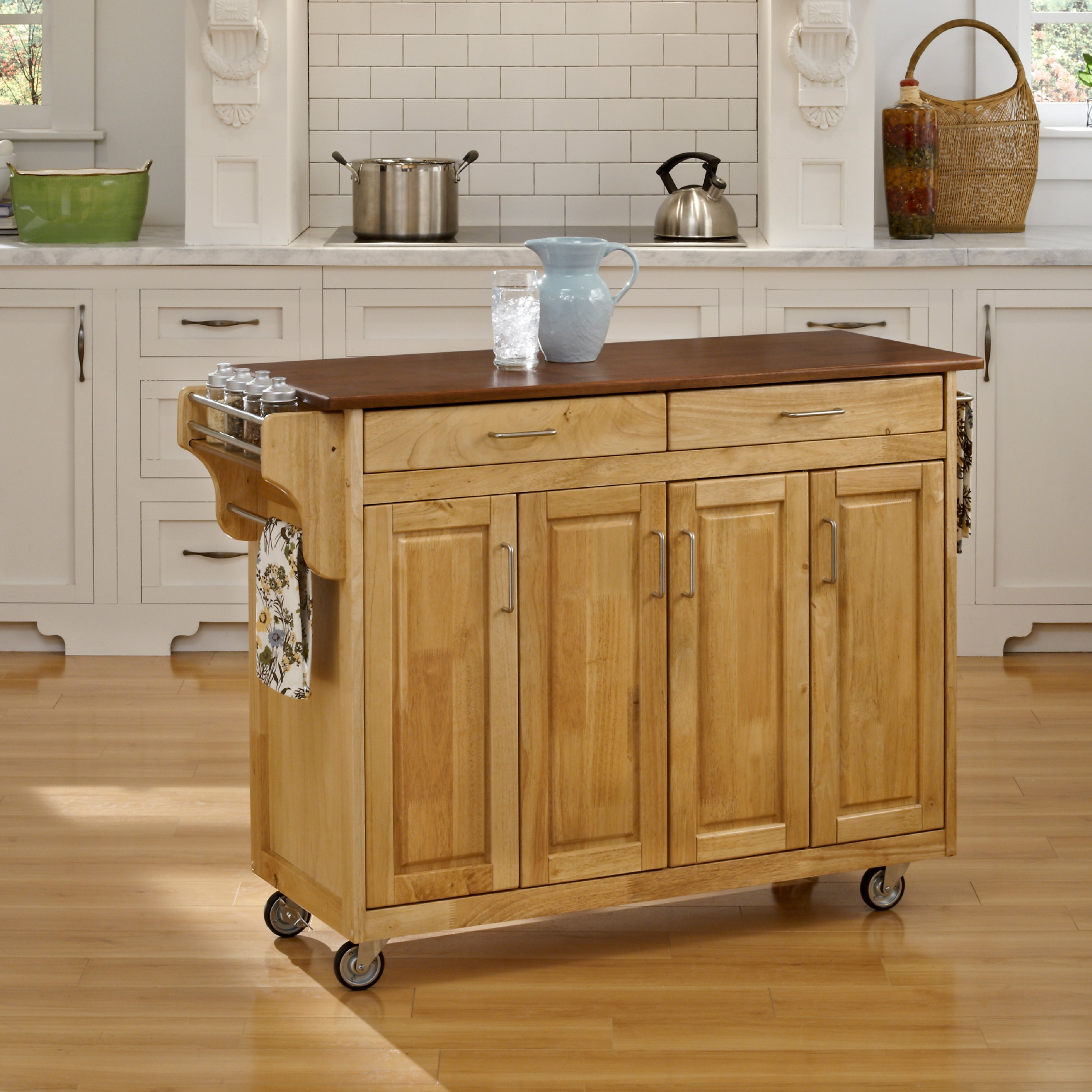 Gracewood Hollow Defoe Natural Finish with Oak Top Kitchen Cart