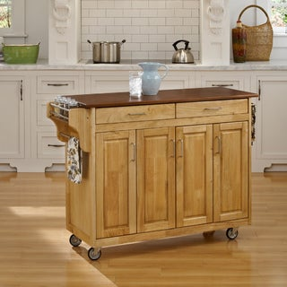 Home Styles Natural Finish with Oak Top Create-a-Cart