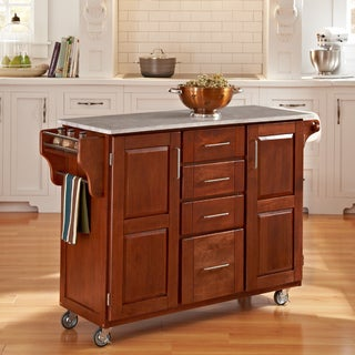 Warm Oak Finish with Marble Top Create-a-Cart