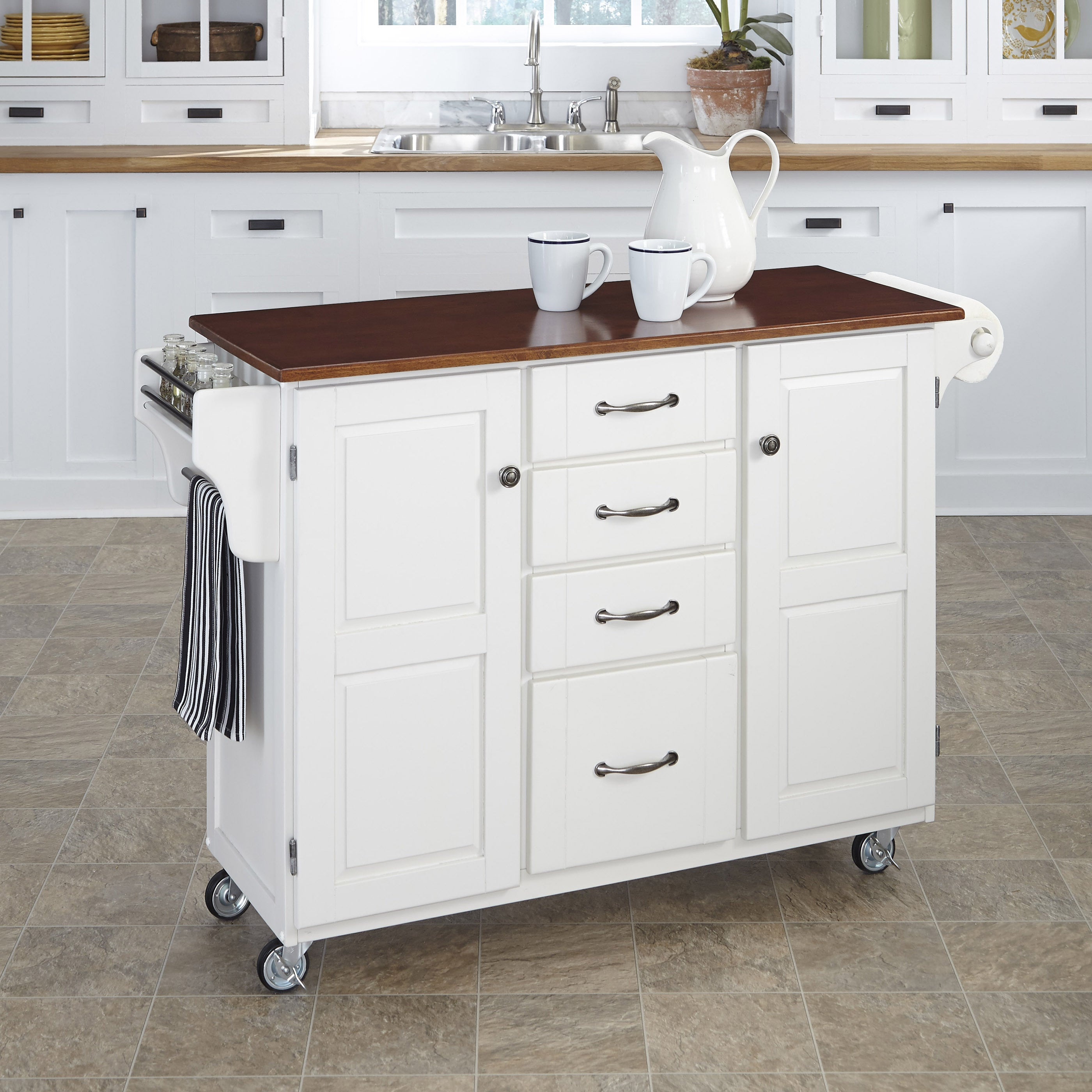 Gracewood Hollow Defoe White Finish with Cherry Top Kitchen Cart