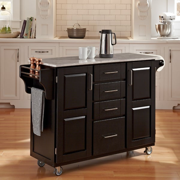 Black Finish with Marble Top Create-a-Cart