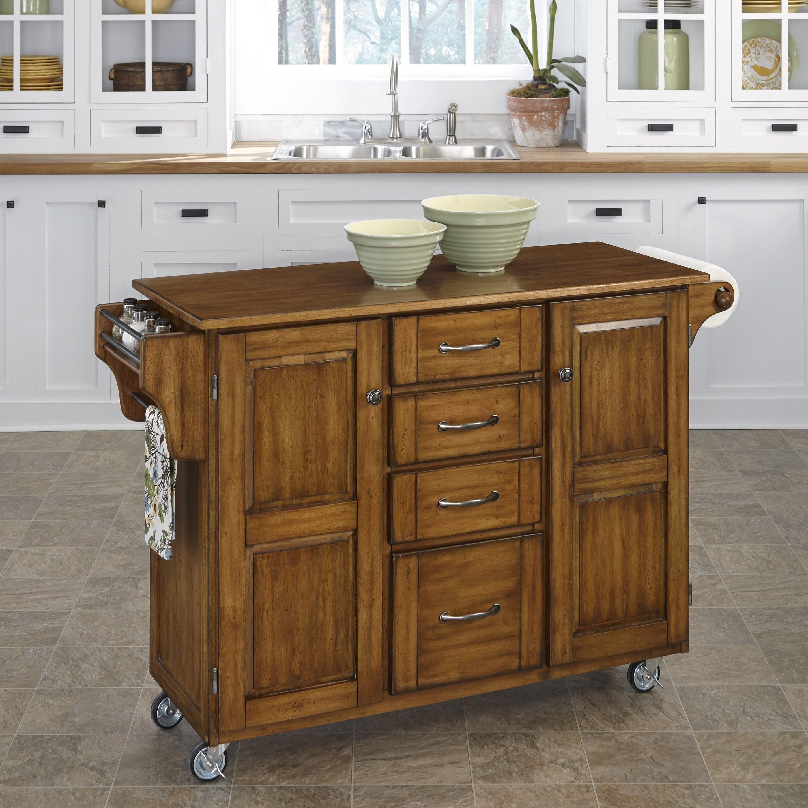 Shop Simple Living Rolling Galvin Microwave Cart: Shop Gracewood Hollow Defoe Oak Finish Kitchen Cart