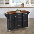 Gracewood Hollow Defoe Black Finish with Brown Top Kitchen Cart