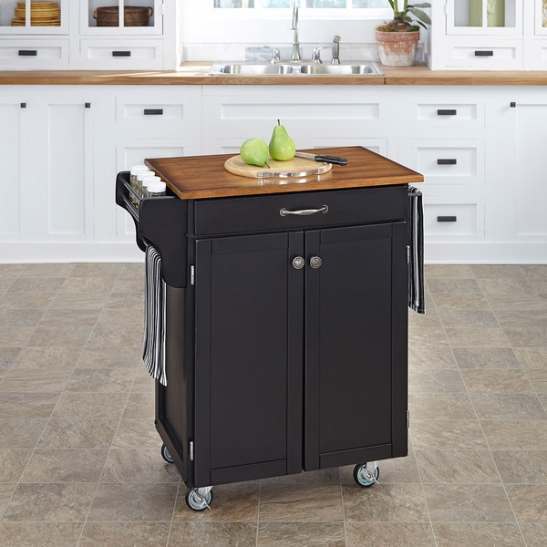Home Styles Black Finish Wood Cuisine Cart
