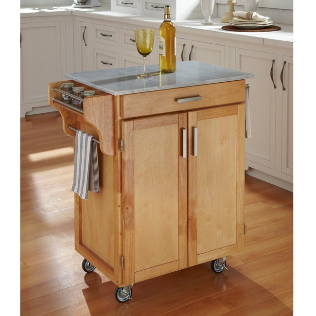 Natural Finish Marble Top Cuisine Cart - Thumbnail 0