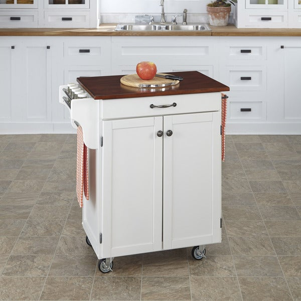 Home Styles White Finish Cherry Top Cuisine Cart
