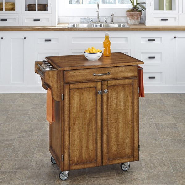 Home Styles Oak Finish Oak Top Cuisine Cart