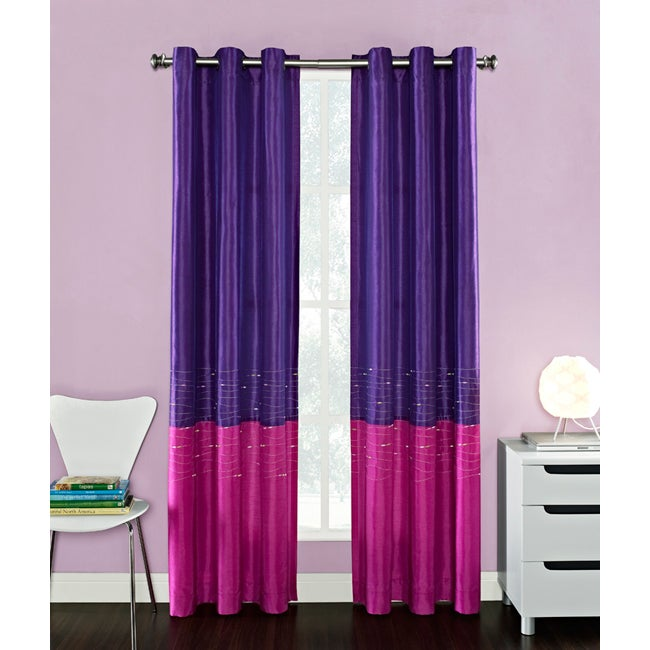 Horizon Embroidered Color Block Grommet Curtain Panel