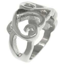 Carolina Glamour Collection Stainless Steel Triple Heart Ring - Thumbnail 1