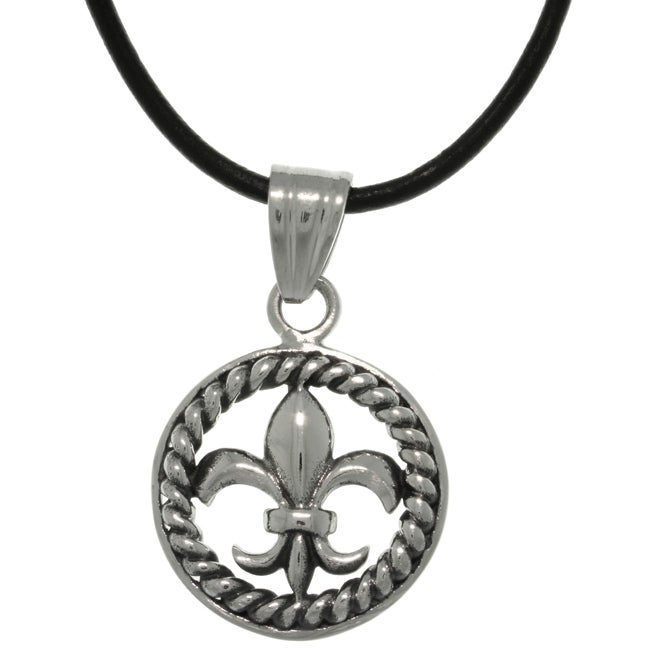 Carolina Glamour Collection Stainless Steel Fleur De Lis Circle Leather Necklace