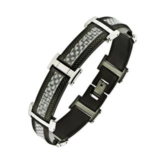 Shop Stainless Steel Men S Black Ion Plated Textured