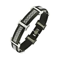 Stainless Steel Men's Black Ion-plated Textured Bracelet