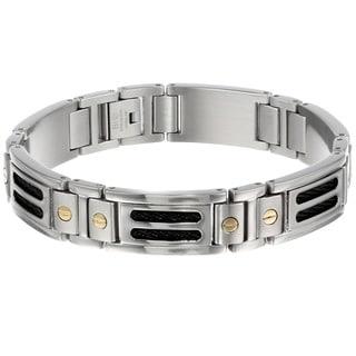 Stainless Steel and 10k Yelllow Gold Men's Screw Detail Link Bracelet