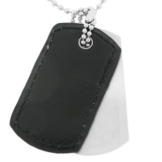 Stainless Steel and Leather Men's Two-piece Dog Tag Necklace