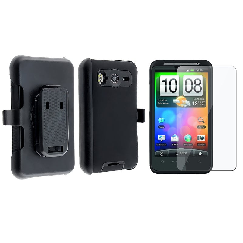INSTEN Black Hybrid Phone Case Cover/ Screen Protector for HTC Inspire 4G - Thumbnail 0
