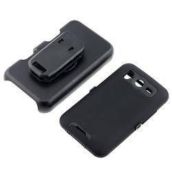 INSTEN Black Hybrid Phone Case Cover/ Screen Protector for HTC Inspire 4G - Thumbnail 1