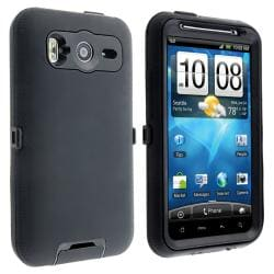 INSTEN Black Hybrid Phone Case Cover/ Screen Protector for HTC Inspire 4G - Thumbnail 2
