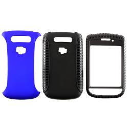 Black/ Blue Hybrid Case/ LCD Protector for Blackberry Torch 9800/ 9810 - Thumbnail 1