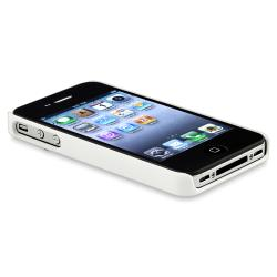 White with Chrome Hole Rear Case/ LCD Protector for Apple iPhone 4/ 4S