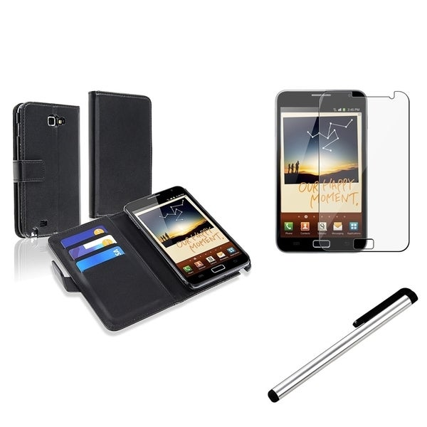 INSTEN Black Phone Case Cover/ Screen Protector/ Stylus for Samsung Galaxy Note N7000