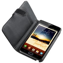 INSTEN Black Leather Wallet Phone Case Cover/ Headset for Samsung Galaxy Note N7000