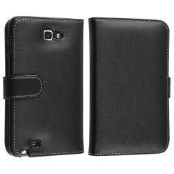 INSTEN Black Leather Phone Case Cover/ Screen Protector for Samsung Galaxy Note N7000