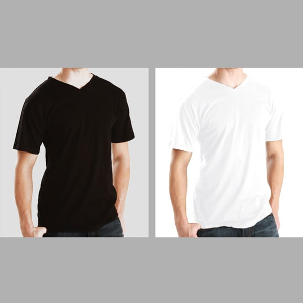 Men's Soft Cotton V-Neck T-shirt (2 Pack). Opens flyout.
